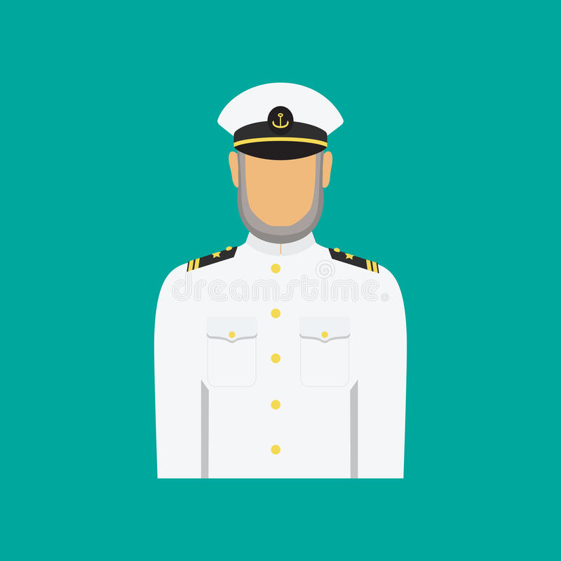 Ship captain in uniform in flat style. Vector illustration. stock illustration
