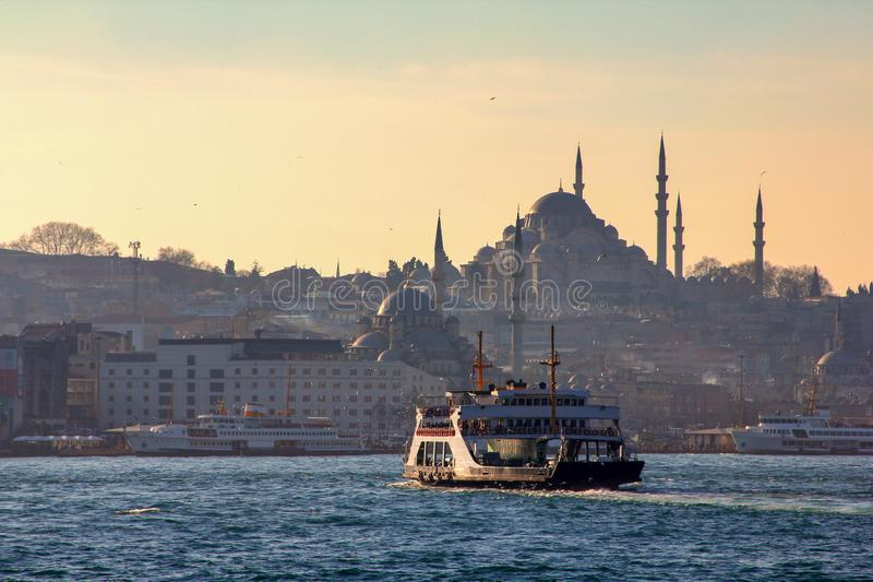 Ferry boat carrying vehicles and passengers in Istanbul stock photo