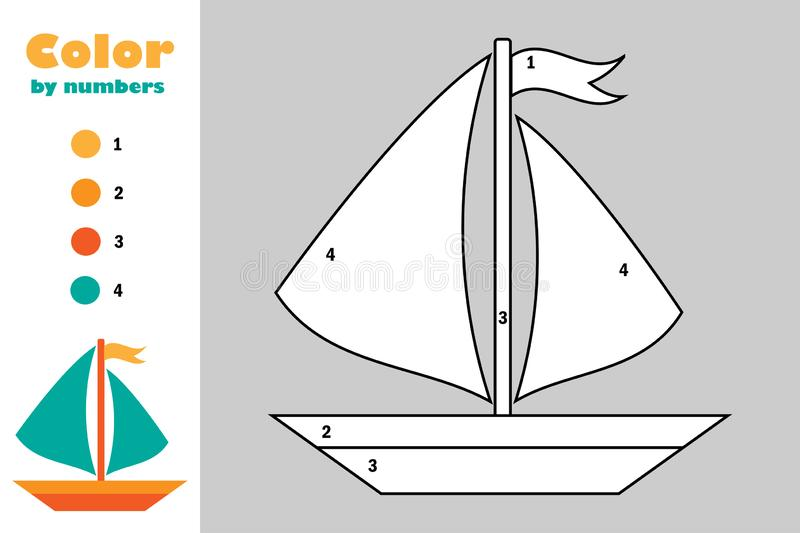 Ship in cartoon style, color by number, education paper game for the development of children, coloring page, kids preschool stock illustration