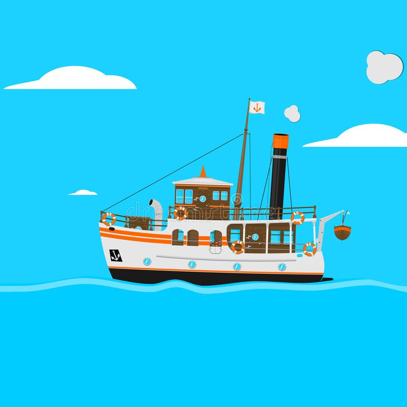 Cartoon vintage steam ship. royalty free illustration