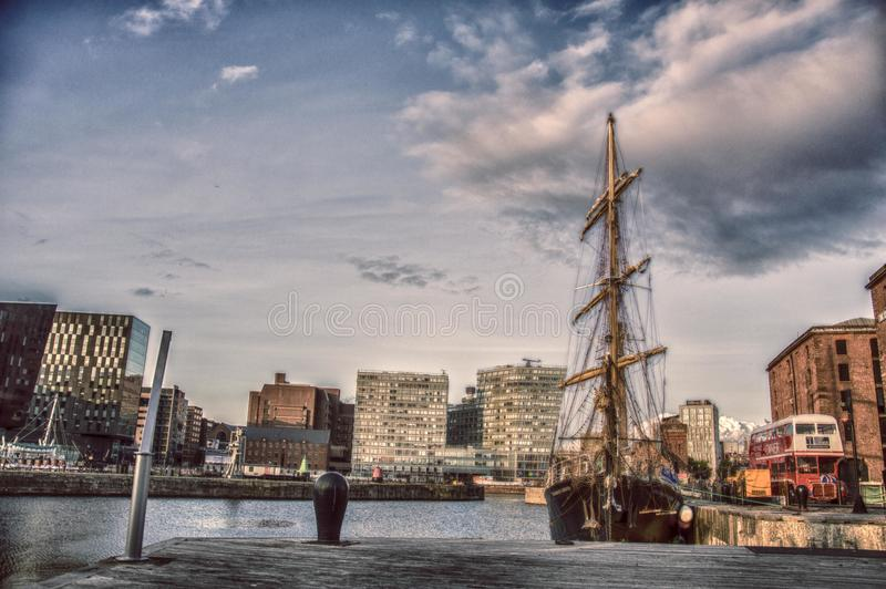 Ship in the city royalty free stock images