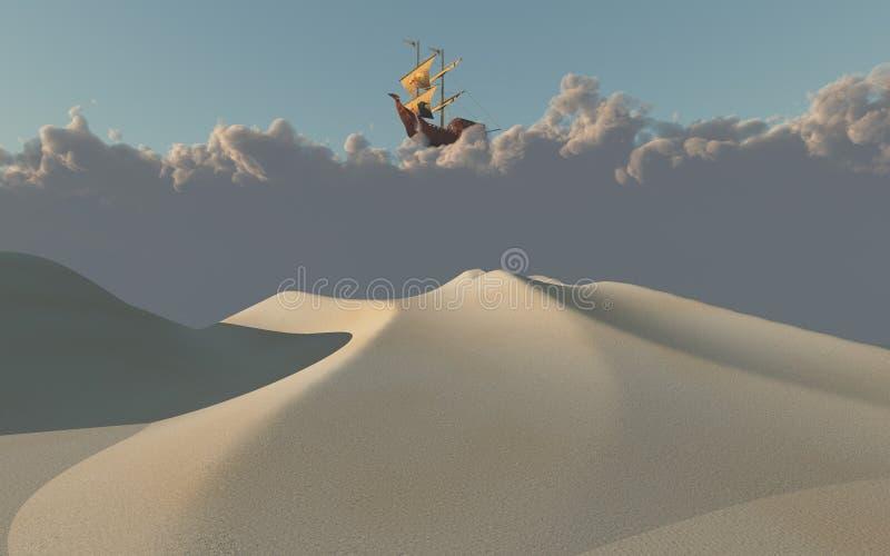 Ship in clouds above desert vector illustration