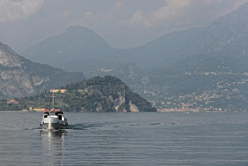Ship is coming from Bellagio at lake Como - Italy. stock photography