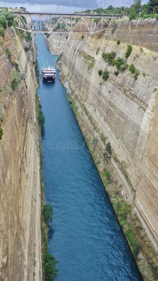 A ship on the Corinth Canal in the Peloponnese, Greece, Europe. On the way to Athens royalty free stock photos
