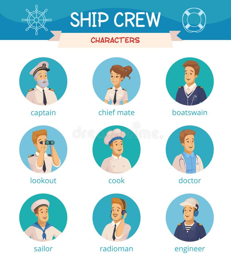 Free Ship Crew Characters Icons Set Stock Photo - 101088540