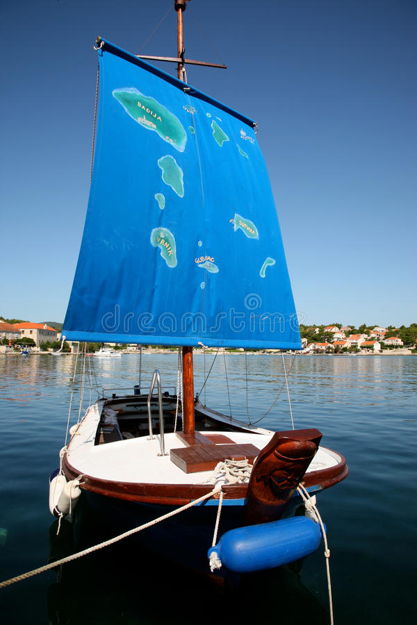 Ship In Croatia With The Map Of The Islands (Korcula) Royalty Free Stock Photography