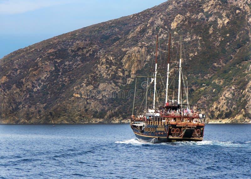 Ship cruise around Mount Athos - Greece. Cruise in Mediterranean sea around Agion Oros - Holly Mountain Greece stock photo