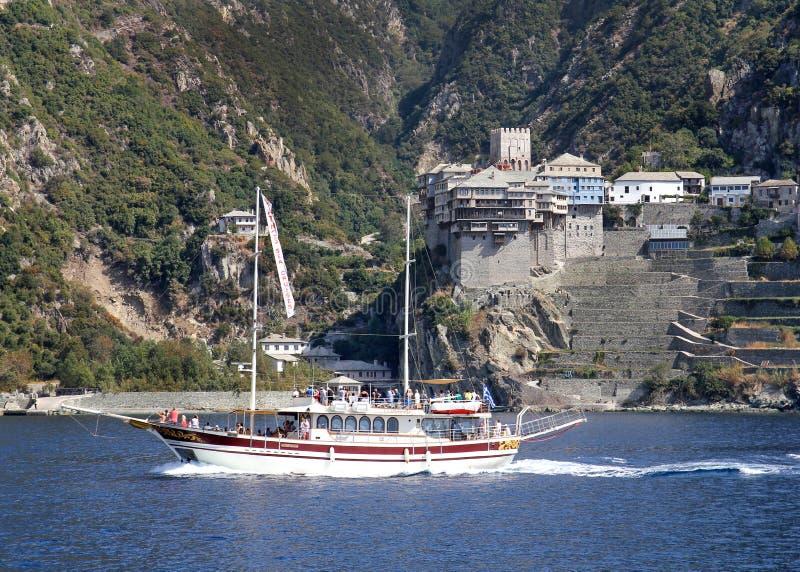 Ship cruise around Mount Athos - Greece. Cruise in Mediterranean sea around Agion Oros - Athos Holly Mountain Greece royalty free stock photos