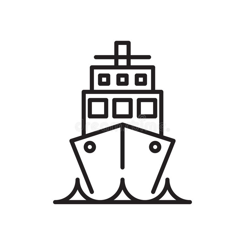 Ship, Cruise liner line icon, outline vector sign, linear style pictogram isolated on white. Voyage symbol, logo illustration. Editable stroke. Pixel perfect vector illustration