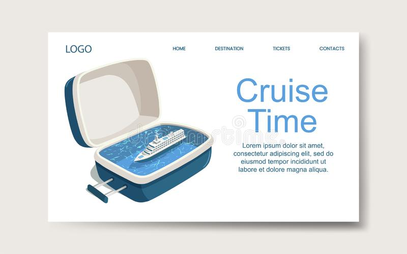 Ship cruise time, landing web page template. Vector vector illustration