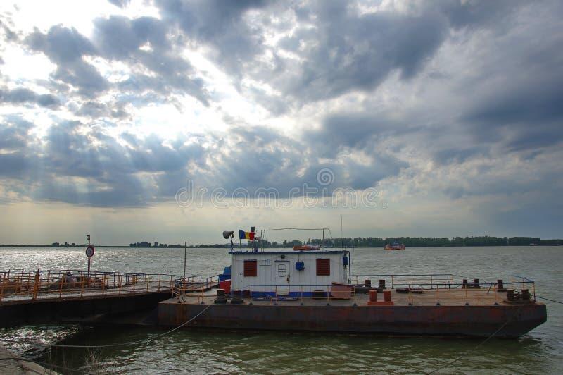 Ship on the Danube river. Beautiful landscape with a ship on the Danube river in Romania stock photography