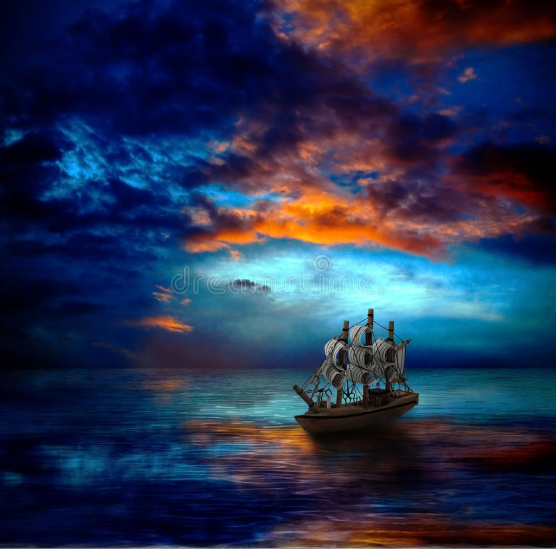 Ship on dark sea vector illustration