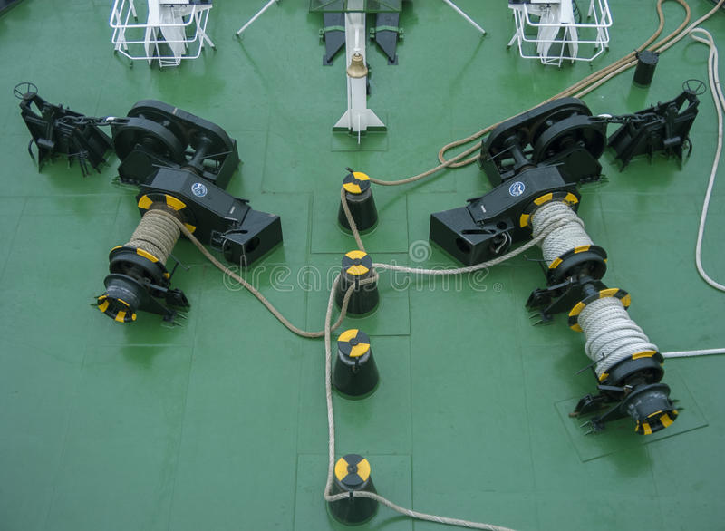 Ship deck with rope. Chain and hank stock photos