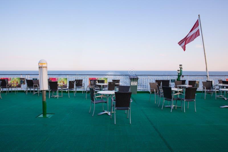 Ship deck. Sea and sun at moorning. Waves and nature. stock photos