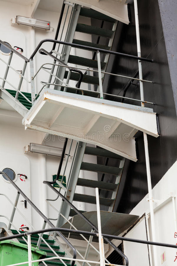 Ship deck stair. Industrial bulk carrier royalty free stock photography