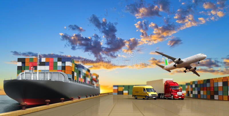 Ship in the dock and freight. On the dock concept different direction deliveries. 3d render stock illustration
