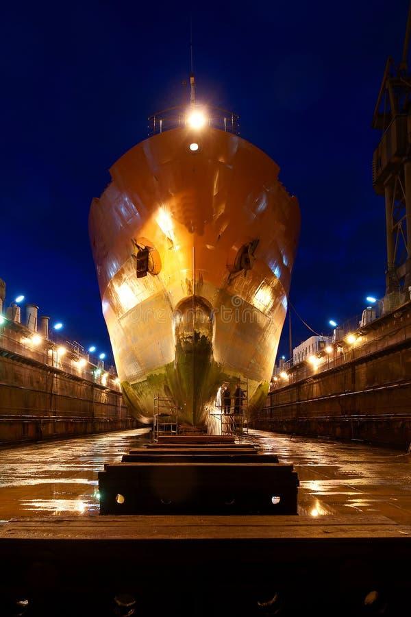 Ship after docking stock image