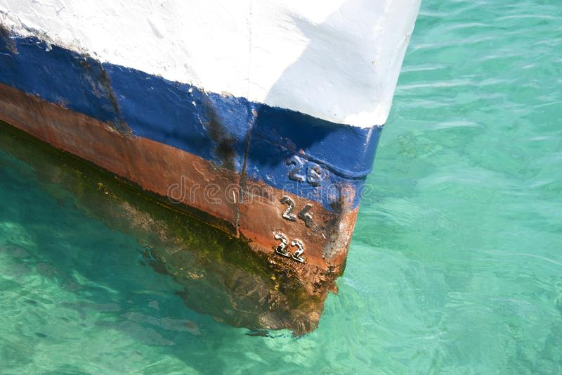 Ship draft marks royalty free stock photography