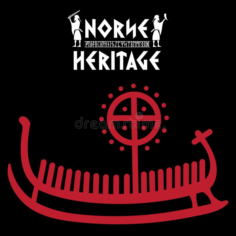 Ship Drakkar, illustration with ancient runic stone from Scandinavia and the inscription Norse Heritage. Isolated on black, vector illustration stock illustration