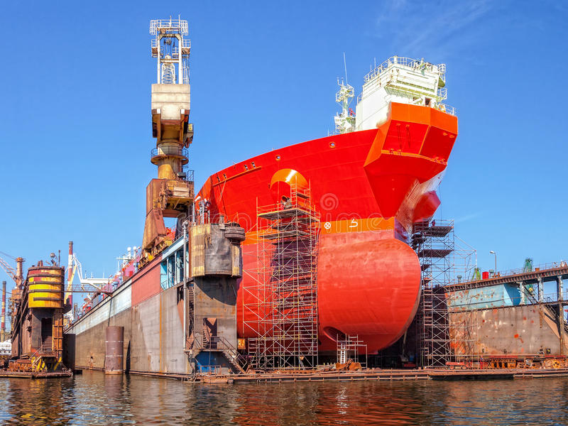 Ship on a dry dock stock photography