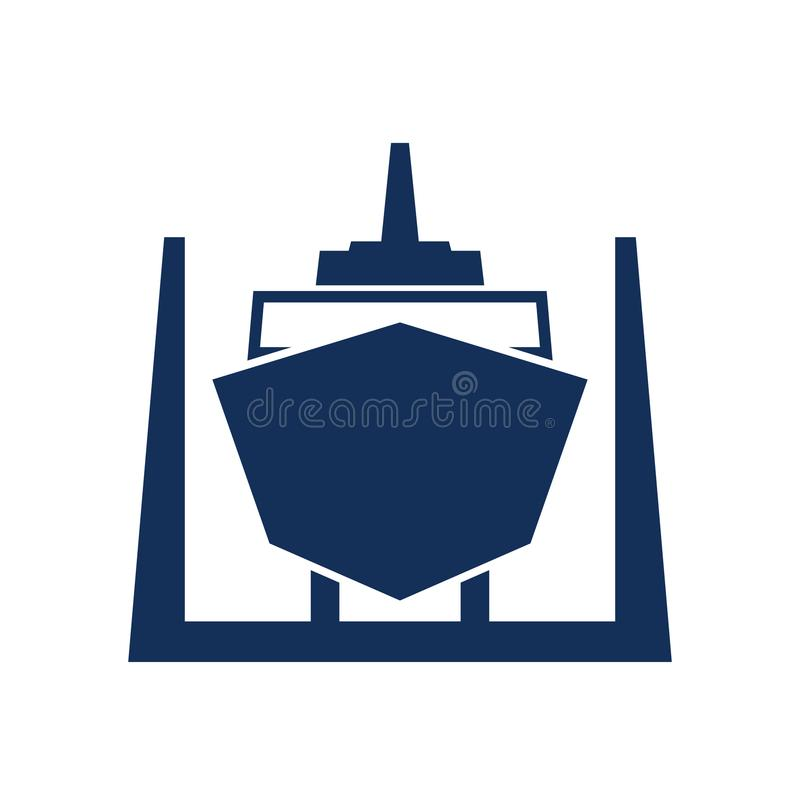 Ship in dry dock icon. Clipart image isolated on white background stock illustration
