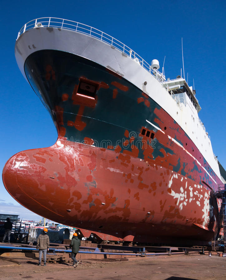 Ship in dry dock royalty free stock photos