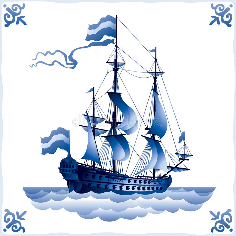 Ship on the Dutch tile 1, frigate. Ship on the Blue Dutch tile, frigate, glazed porcelain ceramic, PATTERN, a Sailing vessel with a totality of sails, Battleship stock illustration