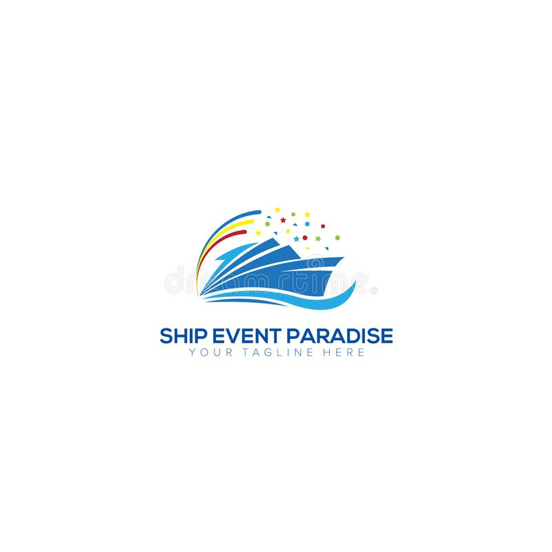 Ship and Party Logo Design vector illustration