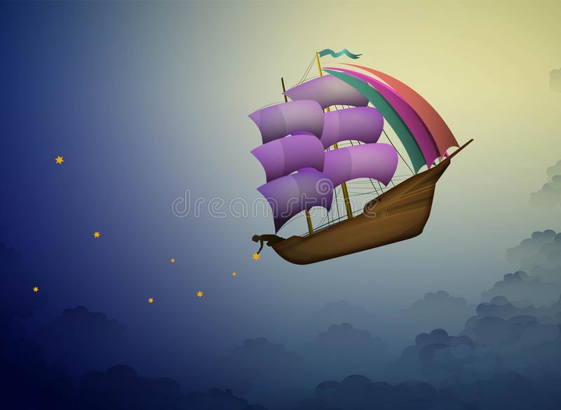 Ship in the evening sky in clouds, fairy boy putting stars on the night sky, fairy dreamland sailor on the heavens, stock illustration