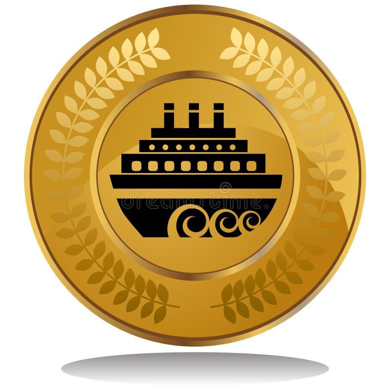 ship för myntkryssningguld royaltyfri illustrationer