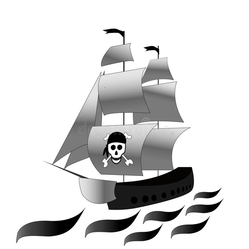 Ship. Frigate with white sails and . Vector black and white drawing on white isolated background. Sketch stock illustration