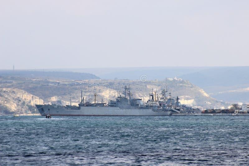 The ship General Ryabikov in Sevastopol city (Crimea). The maritime transport of arms of the Black Sea Fleet of Russian Federation General Ryabikov in Sevastopol royalty free stock photography