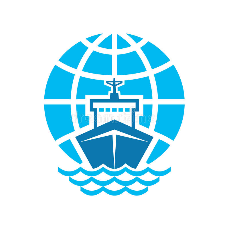 Ship & Globe Logo Sign royalty free illustration