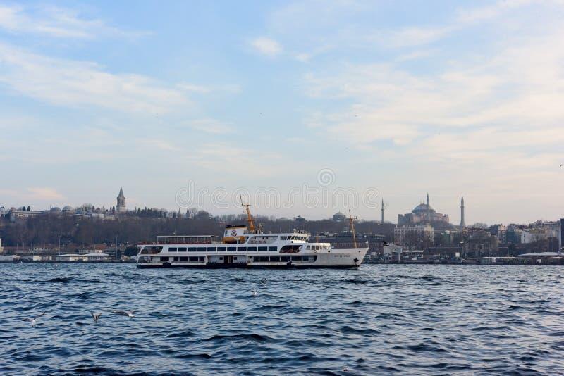 Ship going on istanbul bosphorus royalty free stock photo