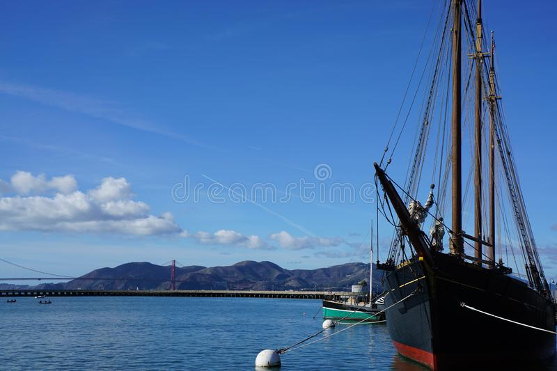 Ship and the Golden Gate in San Francisco stock photography