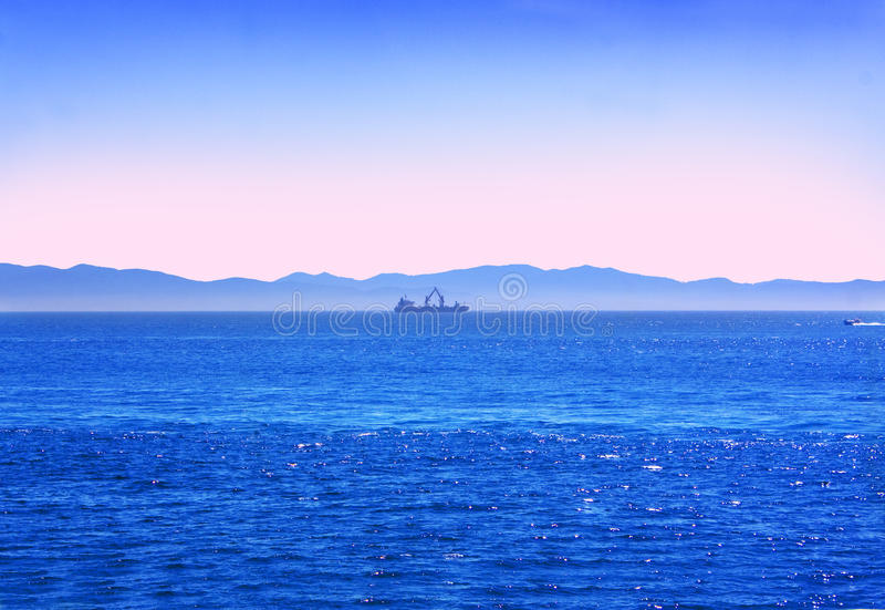 Download Ship the horizon stock image. Image of work, blue, travel - 11350021