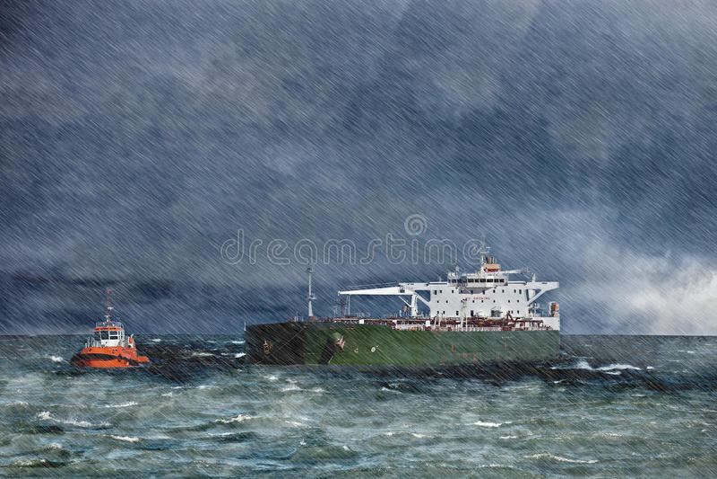 Ship i stormen royaltyfria foton