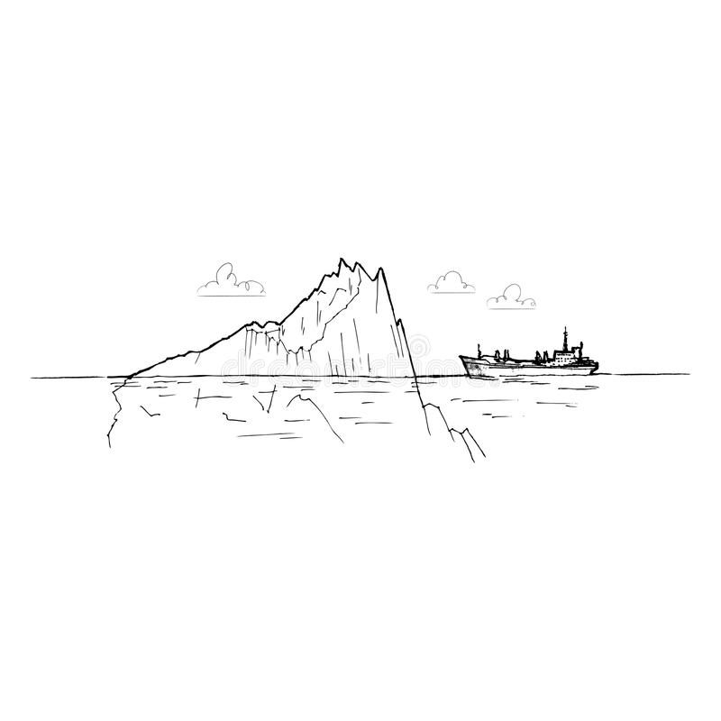 Ship among the icebergs royalty free illustration