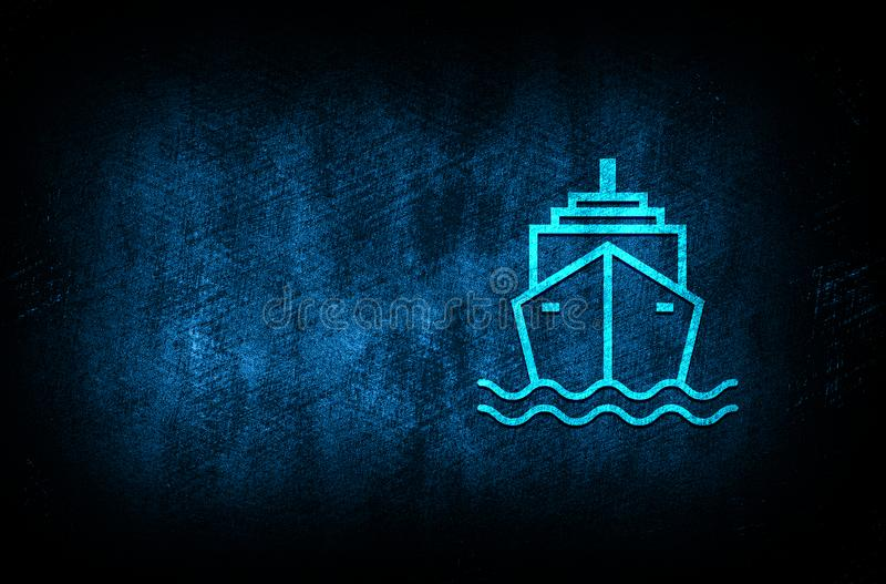 Ship icon abstract blue background illustration digital texture design concept. Ship icon abstract blue background illustration dark blue digital texture grunge vector illustration