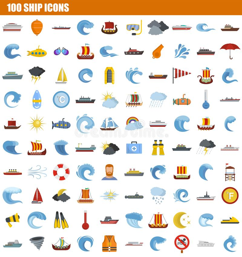100 ship icon set, flat style. 100 ship icon set. Flat set of 100 ship icons for web design stock illustration