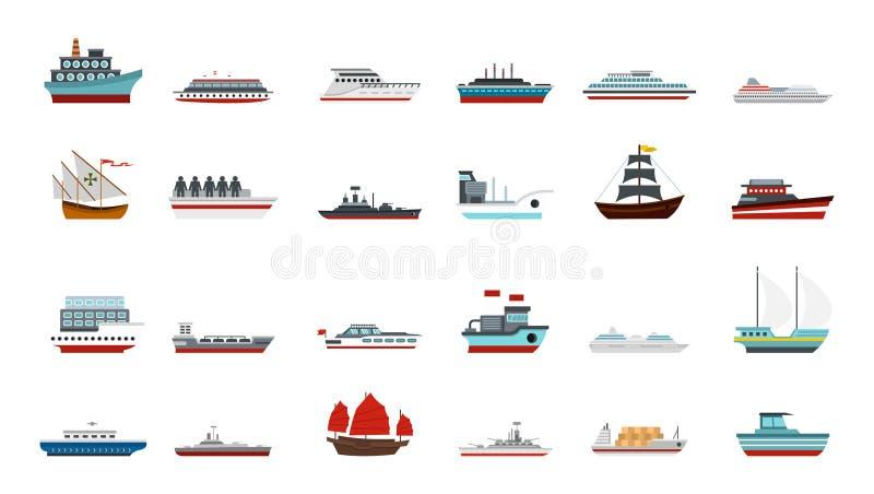 Ship icon set, flat style royalty free illustration