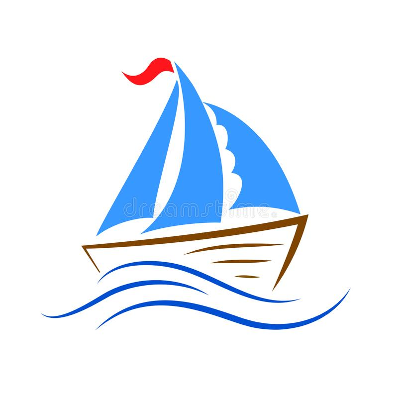Ship icon on the wave – vector royalty free illustration