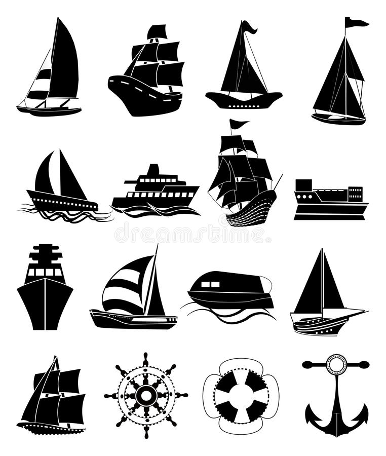 Ship icons set. In black royalty free illustration