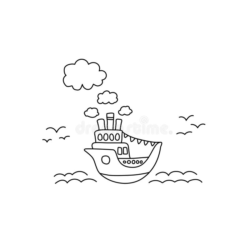 Free Ship In Sea Vector Illustration With Black Line On White Background. Ocean Liner Cute Handdrawn Doodle. Stock Images - 124584414