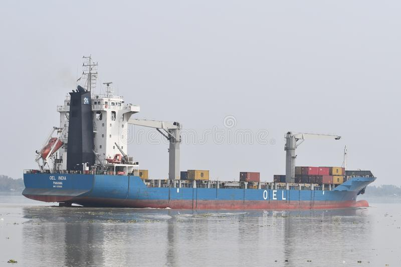 Ship in indian rever. NThis ship is in the way to haldia ,india stock photo