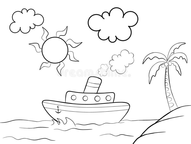 Ship isolated on the white background for coloring book royalty free illustration