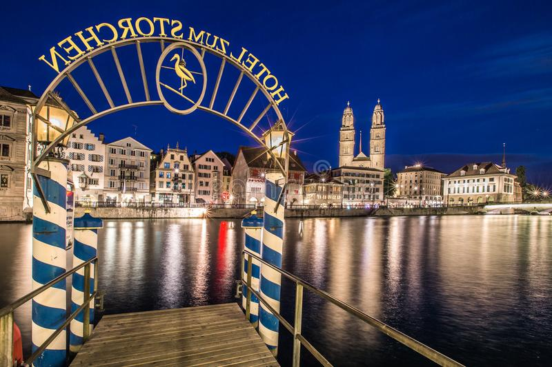 Ship jetty in zurich by night stock photos