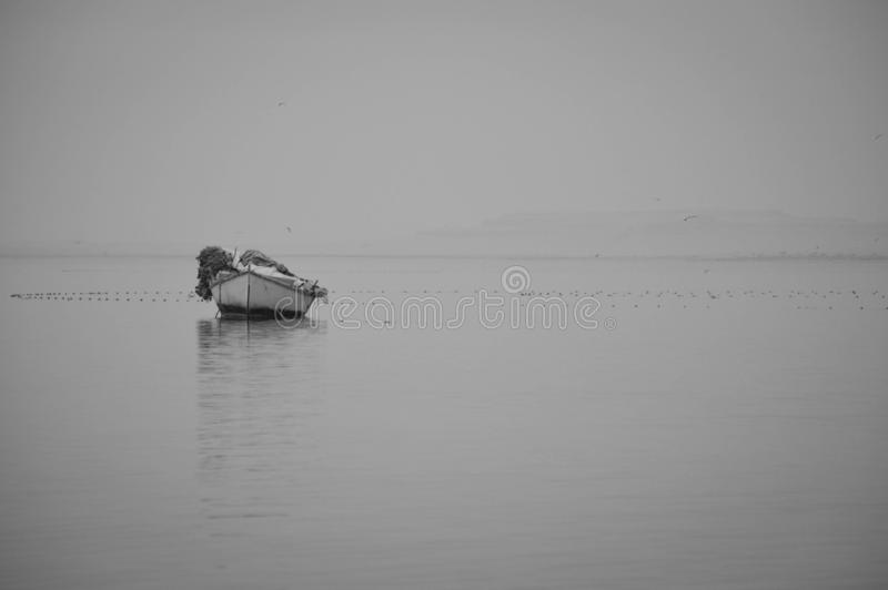 A ship in the lake of Fayoum gray royalty free stock images