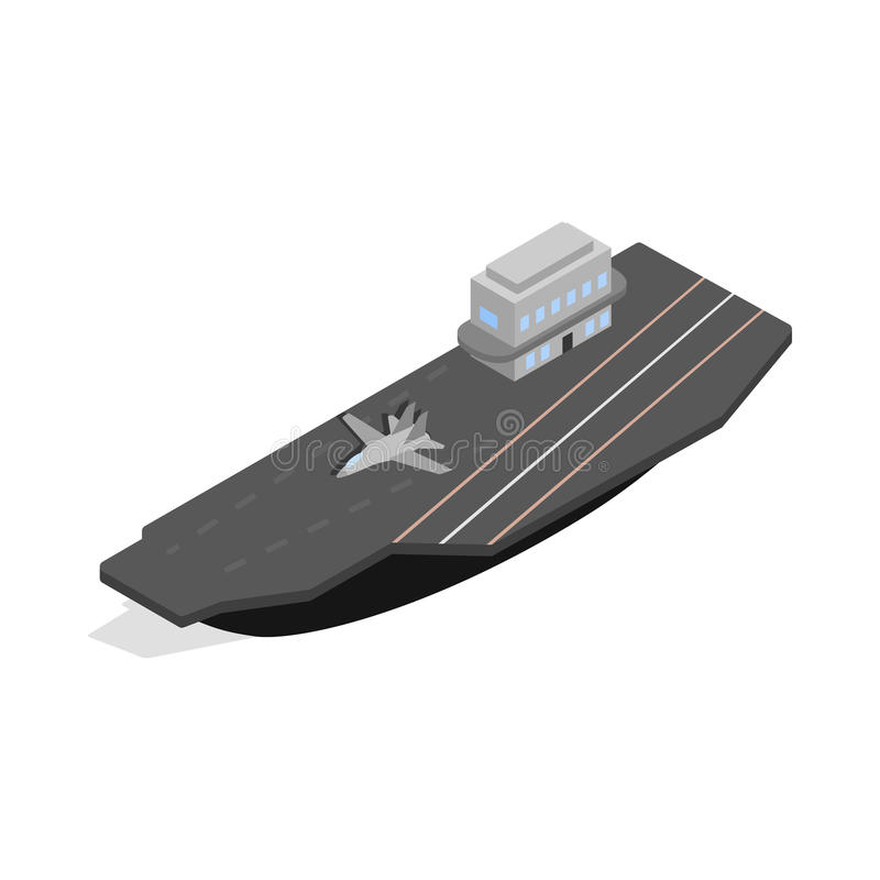 Ship with landing strip for airplanes icon stock illustration