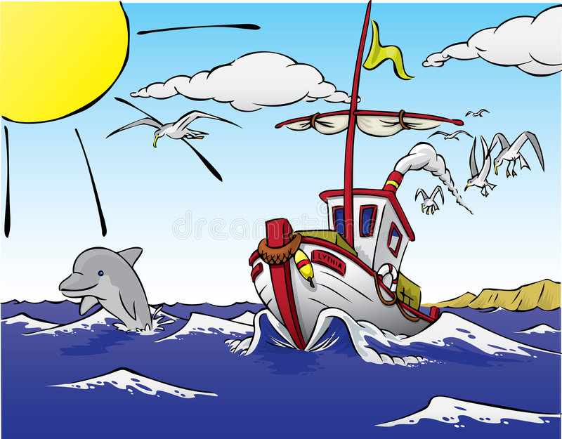 Ship leaving to fish, with dolphin royalty free illustration